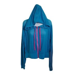 Candy Couture Hoodie, Blue Fabric with Holes, XL